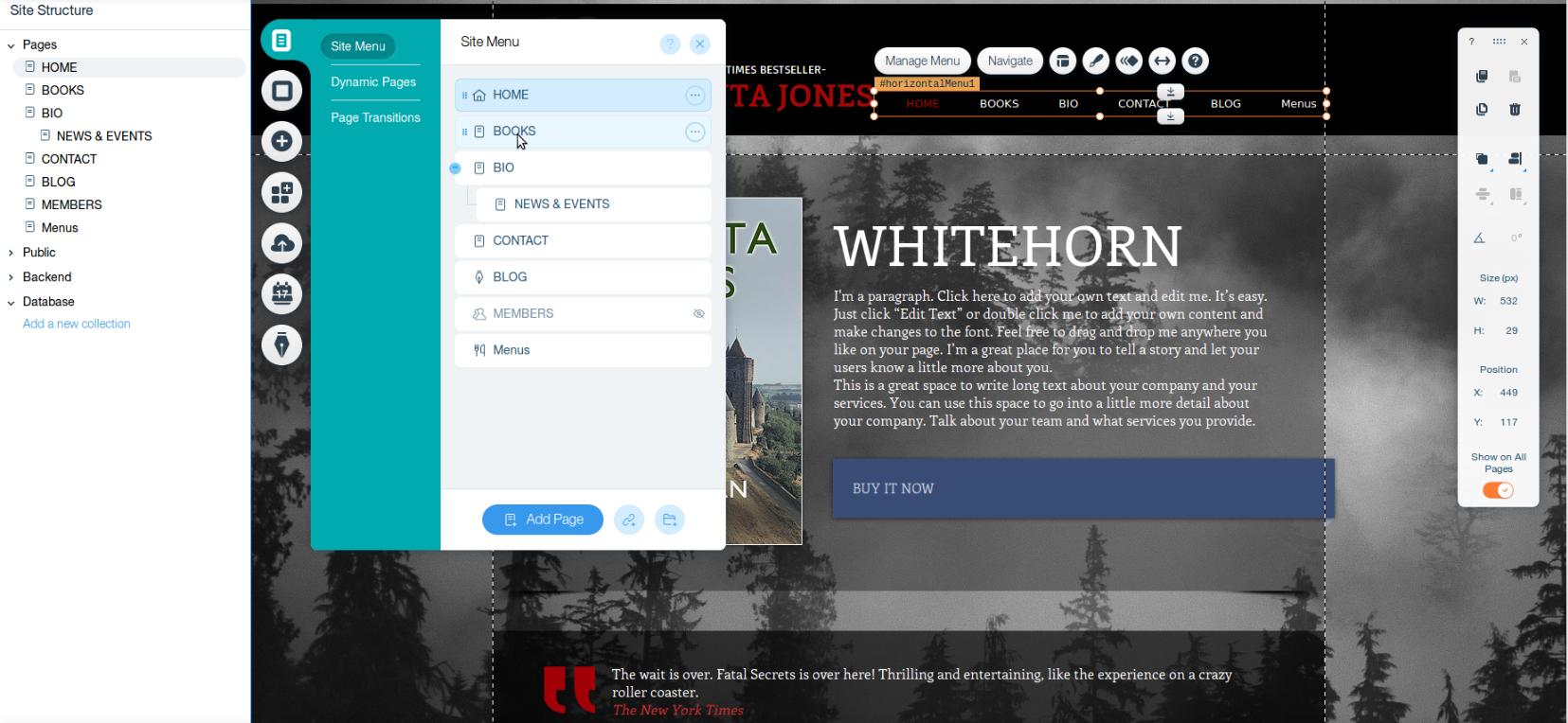 author website wix