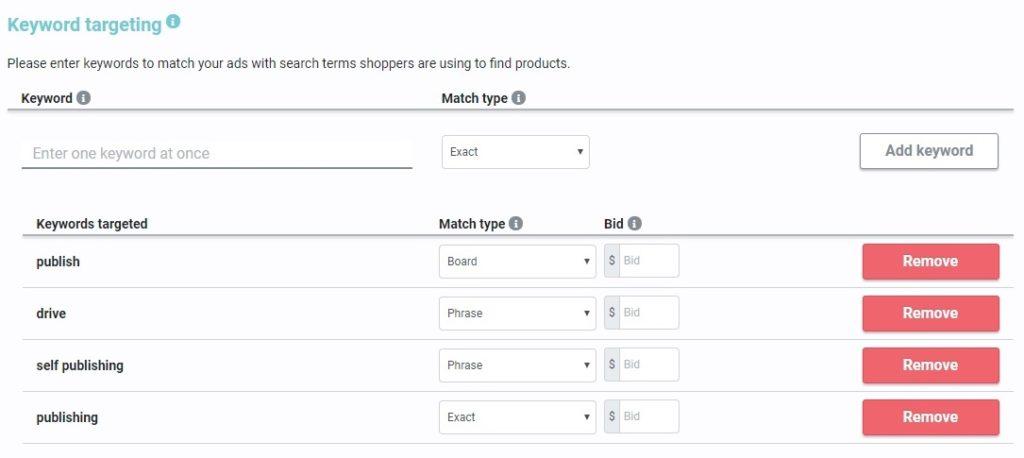 Amazon ebook advertising manual keyword targeting