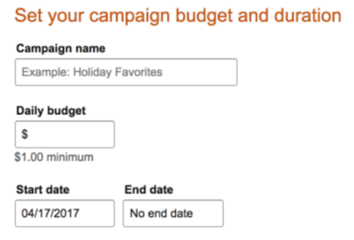 Amazon ad targeting budget and duration