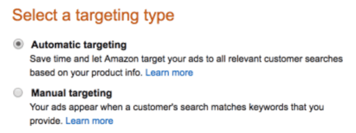 Amazon ad targeting type automatic or manual