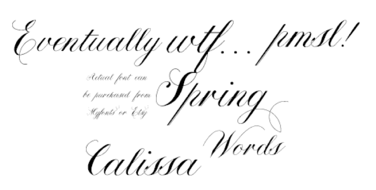 Calissa font with ligatures