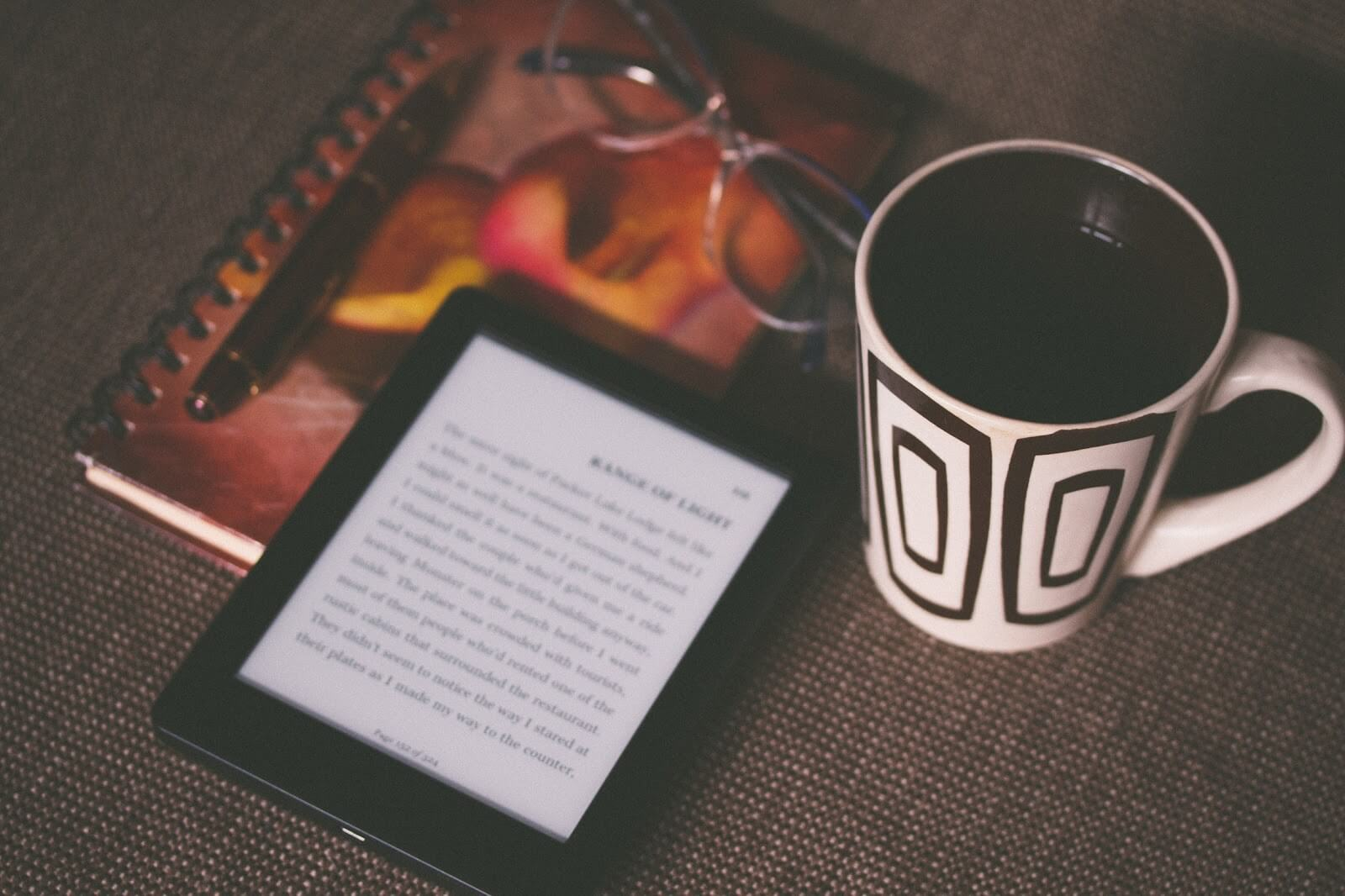 ebook reading with coffee