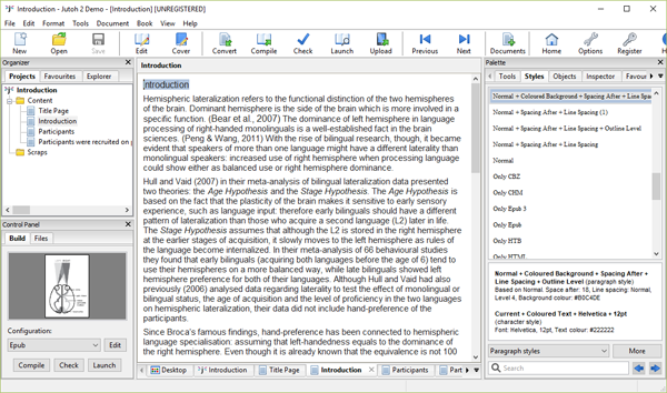 Jutoh ebook publisher software screenshot